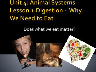 Unit 4:  Animal Systems Lesson 1:Digestion -   Why We Need to Eat