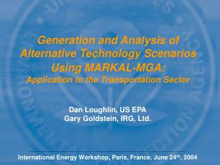 Generation and Analysis of Alternative Technology Scenarios Using MARKAL-MGA: