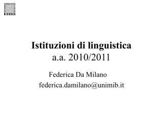 Istituzioni di linguistica a.a. 2010/2011