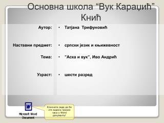 """Основна школа """"Вук Караџић"""" Кнић"""