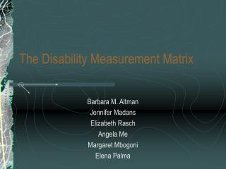 The Disability Measurement Matrix