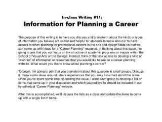 In-class Writing #11: Information for Planning a Career