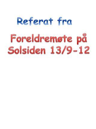 Foreldremøte på Solsiden 13/9-12