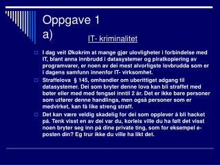 Oppgave 1 a)