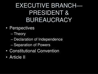 EXECUTIVE BRANCH—PRESIDENT & BUREAUCRACY