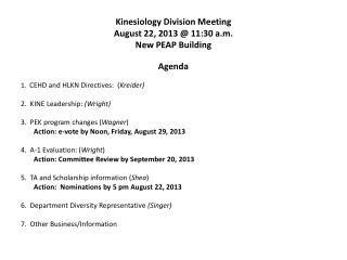 Kinesiology Division Meeting August 22, 2013 @ 11:30 a.m. New PEAP Building
