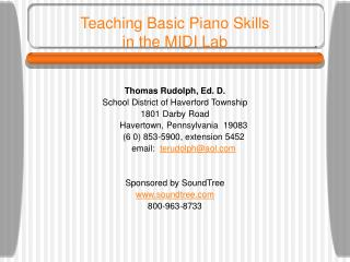 Teaching Basic Piano Skills  in the MIDI Lab