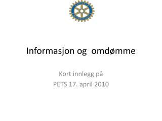 Informasjon og  omdømme