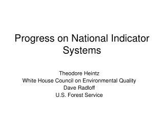 Progress on National Indicator Systems