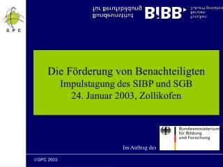 Die Förderung von Benachteiligten Impulstagung des SIBP und SGB 24. Januar 2003, Zollikofen