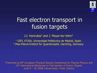 Fast electron transport in fusion targets