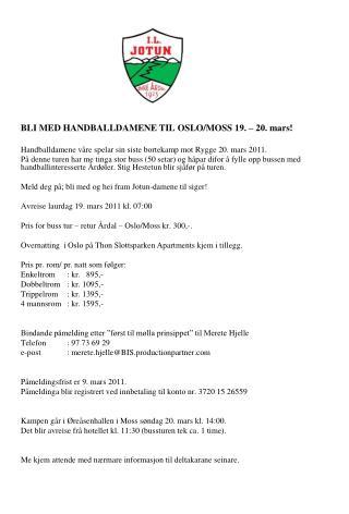 BLI MED HANDBALLDAMENE TIL  OSLO/MOSS 19. – 20. mars!
