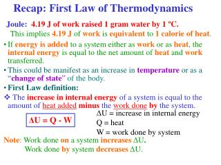 Recap: First Law of Thermodynamics