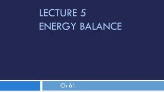 Lecture 5 	Energy Balance