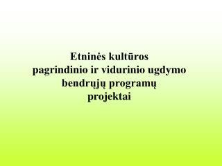Etninės kultūros pagrindinio ir vidurinio ugdymo bendrųjų programų  projektai