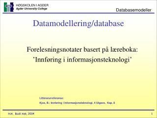 Datamodellering/database