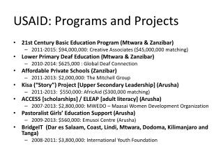 USAID: Programs and Projects
