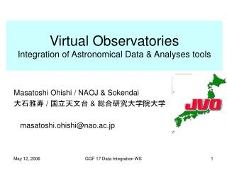 Virtual Observatories Integration of Astronomical Data & Analyses tools