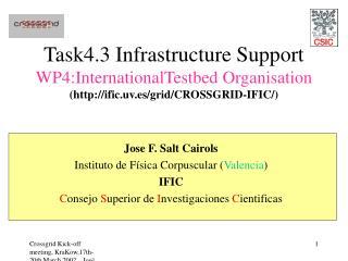 Jose F. Salt Cairols Instituto de Física Corpuscular ( Valencia ) IFIC