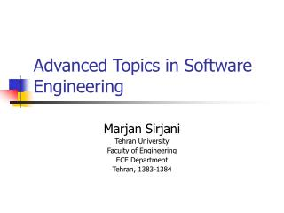 Advanced Topics in Software Engineering
