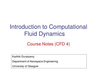 Introduction to Computational Fluid Dynamics