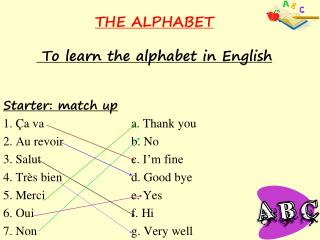 THE ALPHABET   To learn the alphabet in English