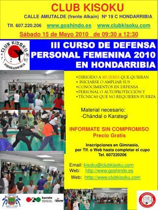 III CURSO DE DEFENSA PERSONAL FEMENINA 2010 EN HONDARRIBIA
