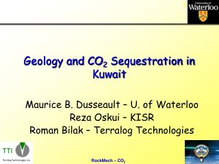 Geology and CO 2  Sequestration in Kuwait