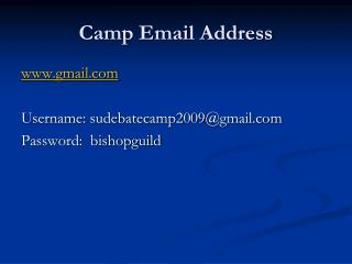 Camp Email Address