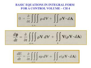 BASIC EQUATIONS IN INTEGRAL FORM  FOR A CONTROL VOLUME – CH 4
