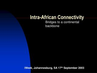 Intra-African Connectivity