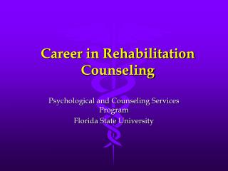 Career in Rehabilitation Counseling