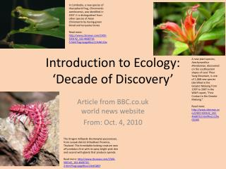 Introduction to Ecology:  'Decade of Discovery'