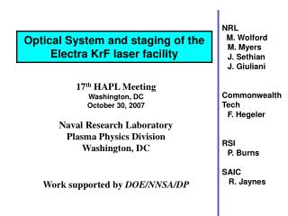 17 th  HAPL Meeting Washington, DC October 30, 2007 Naval Research Laboratory