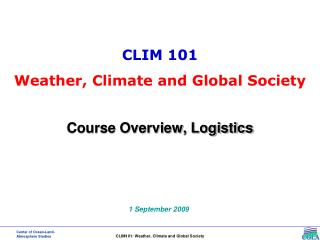 Course Overview, Logistics