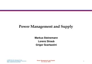Power Management and Supply