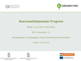 Szervezetfejlesztési Program ÁROP-1.2.18-2012-2012-0001 2013. November 12.