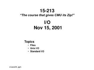 Topics Files Unix I