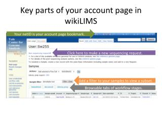 Key parts of your account page in  wikiLIMS