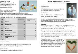 Sukker er i fokus Tilsat sukker anbefales af  Fødevarestyrelsen at udgøre  maksimalt 10 % af det