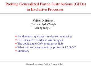 Probing Generalized Parton Distributions (GPDs)  in Exclusive Processes