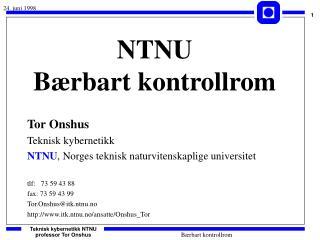 NTNU Bærbart kontrollrom