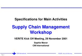 Specifications for Main Activities Supply Chain Management Workshop