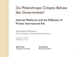Do Philanthropic Citizens Behave like Governments? Internet Platforms and the Diffusion of