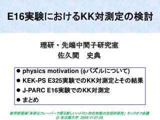 E16 実験における KK 対測定の検討