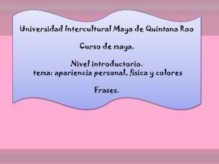 Universidad Intercultural Maya de Quintana Roo Curso de maya. Nivel introductorio.