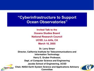 """Cyberinfrastructure to Support  Ocean Observatories"""