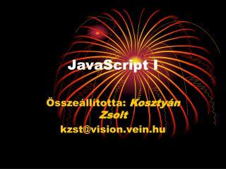 JavaScript I