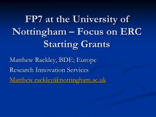 FP7 at the University of Nottingham   Focus on ERC Starting Grants