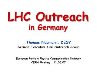 LHC Outreach in Germany